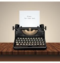 Black Vintage Typewriter On Wooden Table vector image