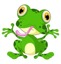 funny frog cartoon sitting vector image vector image