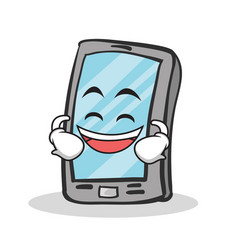 laughing face smartphone cartoon character vector image vector image