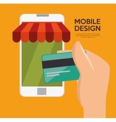 mobile design shop store virtual technology vector image
