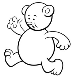 Running bear coloring page vector