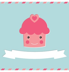 Cute cupcake Valentines Day card vector image