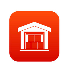 warehouse building icon digital red vector image