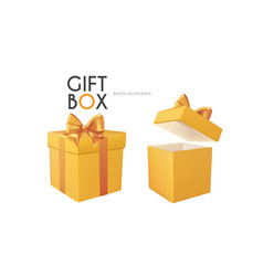 3d realistic gift box with gold bow opened vector image