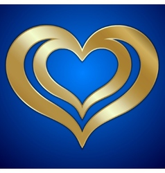 abstract pair of golden hearts on blue background vector image