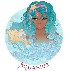 Astrological sign of Aquarius as a african girl vector image
