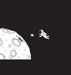 Astronaut catching mini asteroid vector