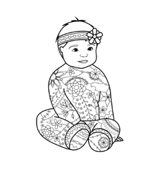 Baby girl coloring vector image