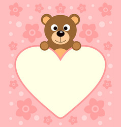 Background card with funny cartoon bear vector