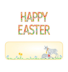 Banner happy easter lamb and sheep vector