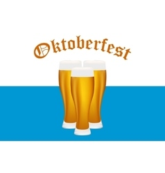 Beer at Oktoberfest Bavarian flag vector