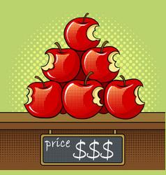 Bitten apples sale pop art vector