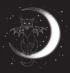 Black cat with bat wings sitting on the crescent vector