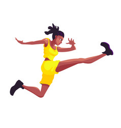 black woman in a yellow sports suit jumps vector image