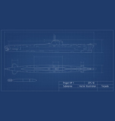 blueprint of submarine military ship battleship vector image