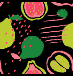 Brush grunge guava seamless pattern vector