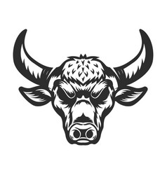 Bull head on white background vector