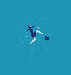 businesswoman and spider web concept business vector image