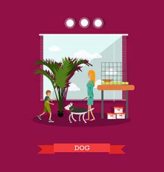 buying a dog in flat style vector image