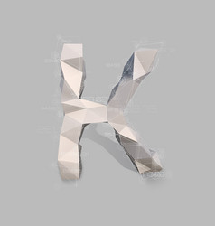 Capital latin letter k in low poly style vector