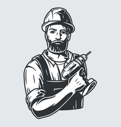 carpenter logo with wood and drill or screwdriver vector image