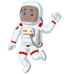 cartoon boy astronaut waving hand vector image