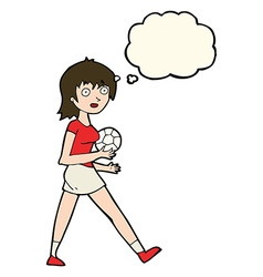 Cartoon soccer girl with thought bubble vector
