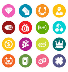 casino icons set colorful circles vector image