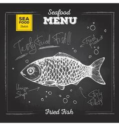 Chalk drawing sketch set seafood fish vector