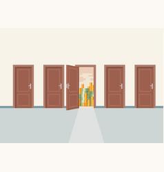 choosing right door to wealth vector image