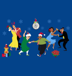 Christmas party in a retirement home vector