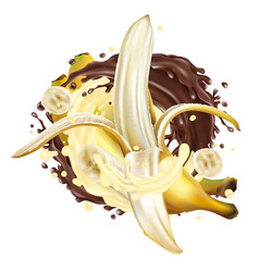 Composition bananas with chocolate and milk vector