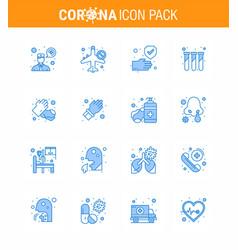Coronavirus prevention 25 icon set blue hands vector
