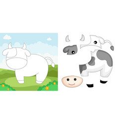 cow puzzle vector image