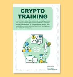 Crypto training poster template layout vector