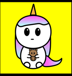 cute cartoon unicorn with doll in hand vector image