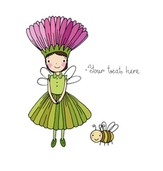 Cute little fairy and bumblebee vector