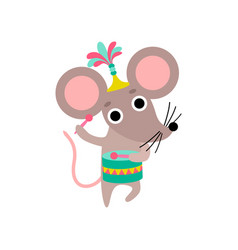 Cute mouse playing drum funny animal performing vector