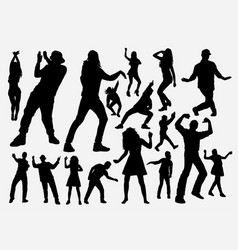 Dancer and rapper man and woman silhouette vector