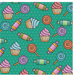 Delicious sweet candies pattern background vector