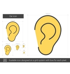Ear line icon vector