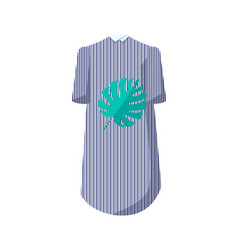 Elegant striped dress with collar and leaf print vector