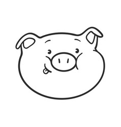 Emoji pig is showing a tongue for coloring book vector
