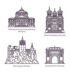 Famous tourist landmarks romania in thin line vector