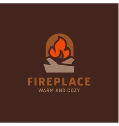 fire in the fireplace with firewood vector image