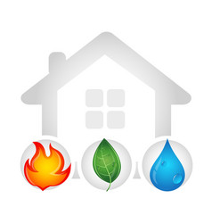 fire water drop and green leaf design vector image