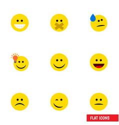 Flat icon gesture set of joy winking laugh and vector