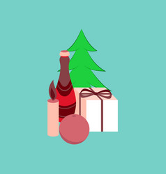 Flat on background of christmas tree champagne vector
