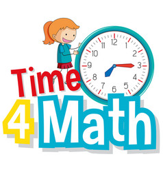 Font design for word time for math with kid and vector