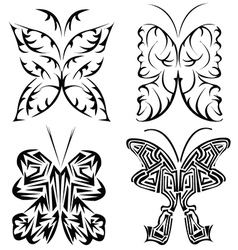 Four tribal butterflies vector